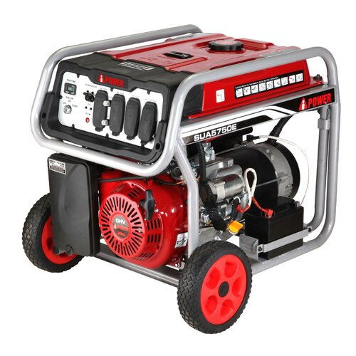 A-iPower Electric Start 5,750 Watt Gasoline Generator with Wheel Kit and Battery