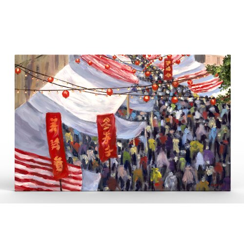 Hong Kong Marketplace Painting Print on Canvas