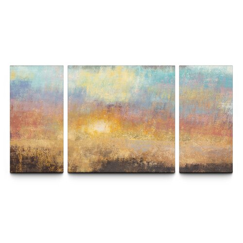 Paradise Sunset Textured Triptych 3 Piece Painting Print on Canvas Set