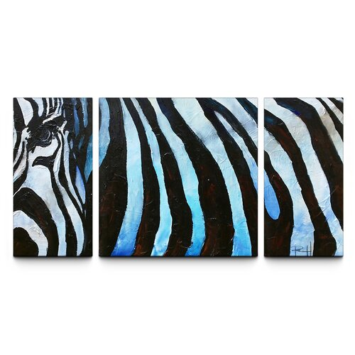Zebra Triptych 3 Piece Painting Print on Canvas Set