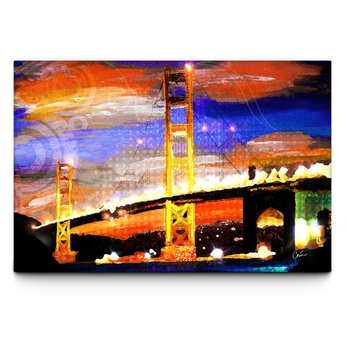 Golden Gate Lights Painting Print on Canvas