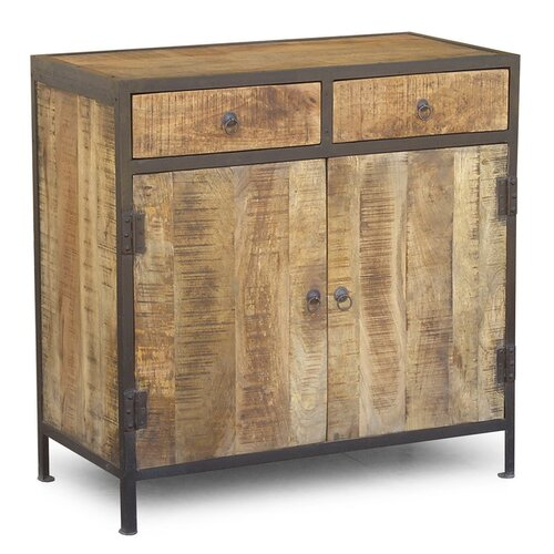 Industrial Reclaimed Wood and Iron 2 Drawer Sideboard Cabinet
