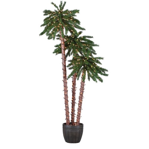 6' Green Tropical Artificial Christmas Tree with 500 Clear Lights with Pot