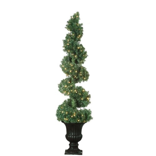 5' Green Spiral Topiary Christmas Tree with 150 Clear Lights with Pot and Stand