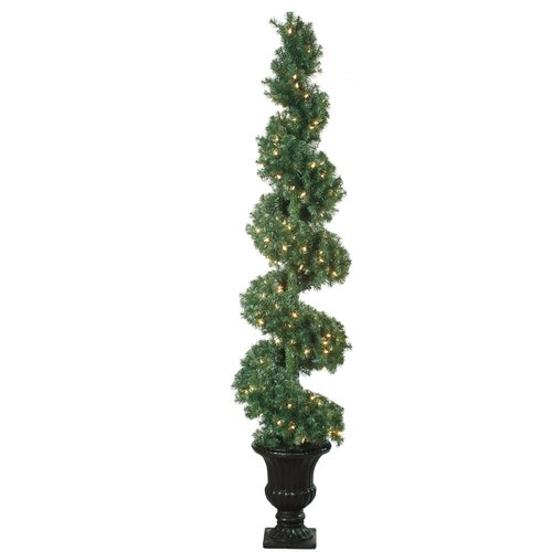6' Green Spiral Topiary Christmas Tree with 200 Clear Lights with Pot and Stand