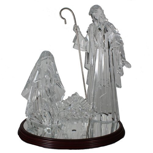 4 Piece Acrylic Holy Family on Wooden Base with Light