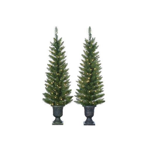Sterling Inc. 4' Green Cedar Pine Christmas Tree with 100 Clear Lights with Plastic Pot and Stand