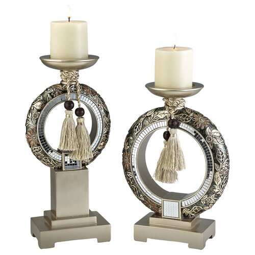ORE Furniture Chrysanthemum 2 Piece Candle Holder Set