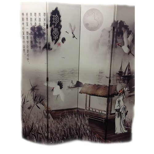 "ORE Furniture 71"" x 64"" Poet's Dream Chinese Painting 4 Panel Room Divider"