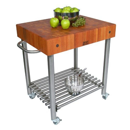 John Boos Cucina Americana D'Amico Kitchen Cart with Butcher Block Top