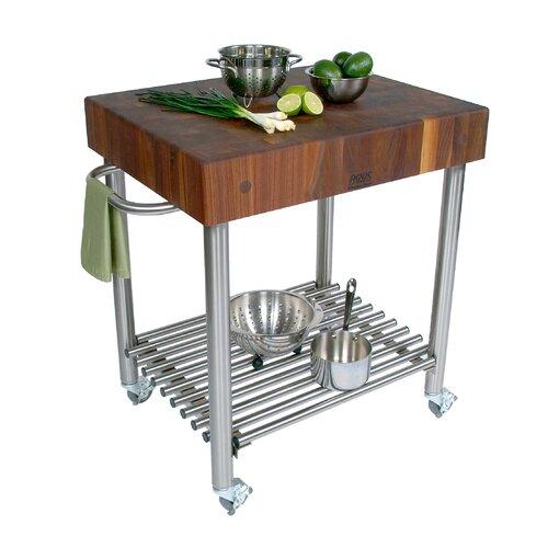 John Boos Cucina Americana D'Amico Kitchen Cart with Butcher Block Top