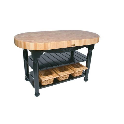 John Boos American Heritage Harvest Kitchen Island with Butcher Block Top