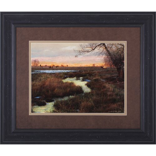 Elk and Creek by Chris Vest Framed Painting Print
