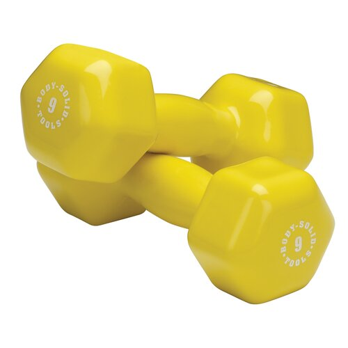 Body Solid Vinyl Dumbbell in Yellow