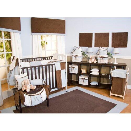 Brandee Danielle Blue Chocolate 4 Piece Crib Bedding Set