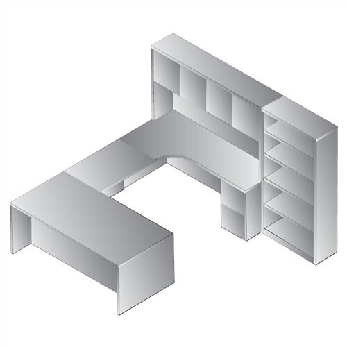 Osp Furniture Sonoma 8 Piece U Shape Desk Office Suite