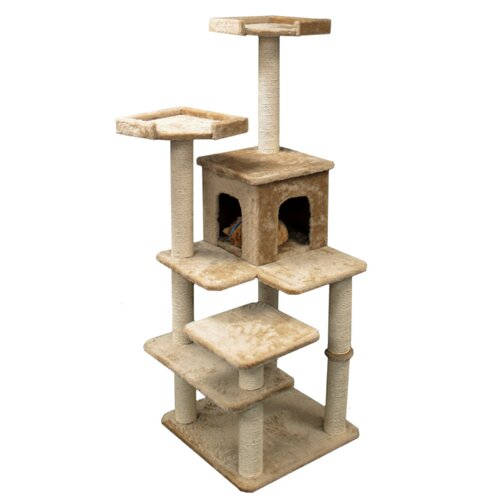 "Majestic Pet Products 66"" Casita Fur Cat Tree"