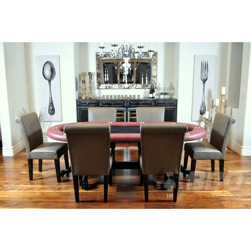 BBO Poker Elite 8 Piece Poker Dining Table Set with Lounge Chairs