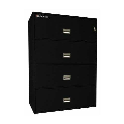 "Sentry Safe 42.8"" W x 20.4"" D 4-Drawer Fireproof Key Lock Letter File Safe"