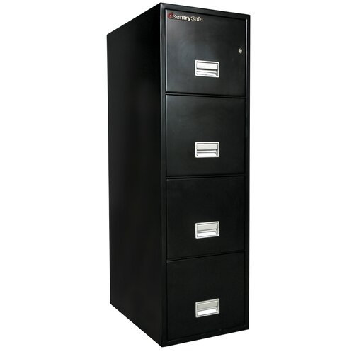 "Sentry Safe Sentry®Safe 19.6"" W x 25"" D 4-Drawer Fireproof Key Lock Letter File Safe"