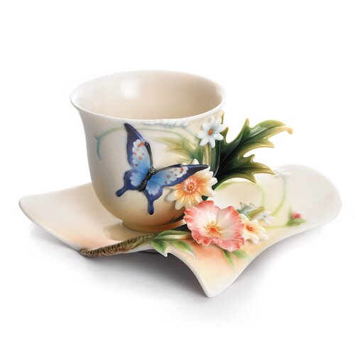 Franz Collection Fluttering Beauty Flower and Butterfly Cup, Saucer and Spoon Set