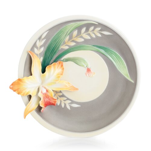 "Franz Collection Magnificent Cattleya Orchid 8.5"" Dessert Plate"