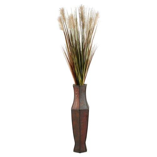 D & W Silks Tall Onion Grass in Tall Wood Decorative Vase