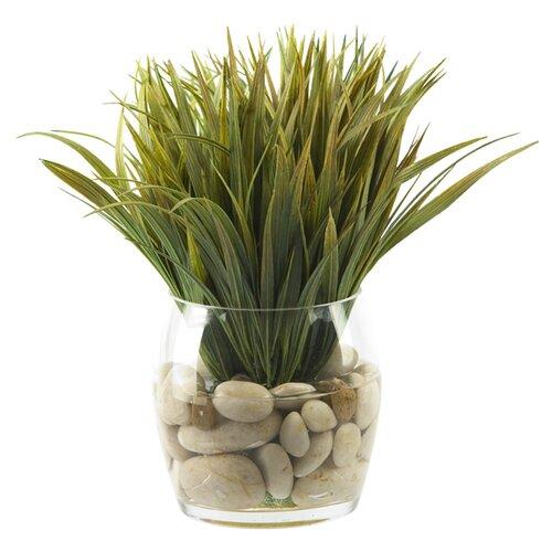 D & W Silks Wild Grass in Round Glass Decorative Vase