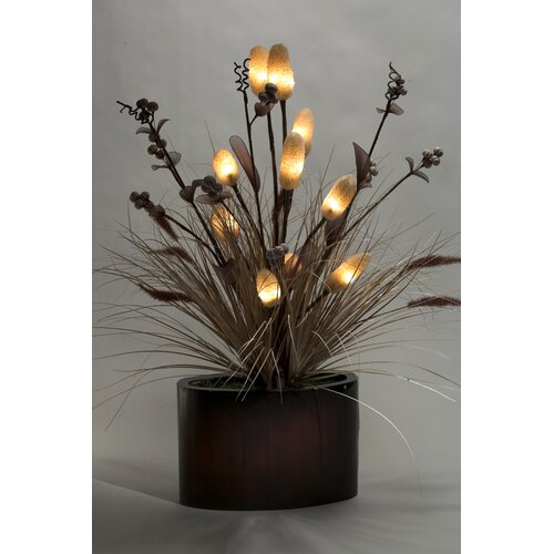 D & W Silks Lighted Loofah and Grass in Oval Planter