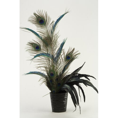 D & W Silks Peacock Feathers Floor Plant in Planter