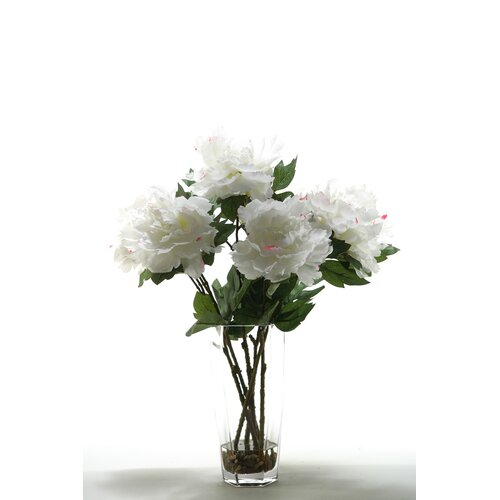 Peonies in Hexagon Glass Vase