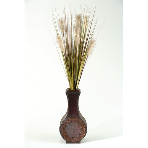 D & W Silks Tall Onion Grass in Tall Wood Decorative Vase