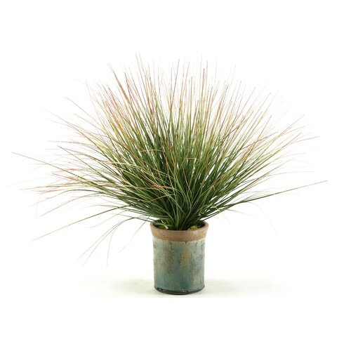 D & W Silks Onion Grass with Tips Floor Plant in Pot