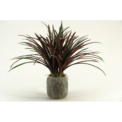 D & W Silks Areca Grass in Round Stone Planter