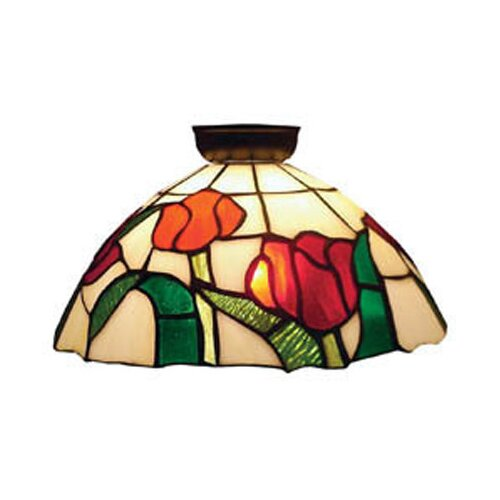Domus Lighting Flush Mount with Red Roses and Leaf Design