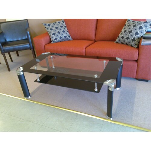 Fresh Furniture Glass Top Coffee Table with Black Legs