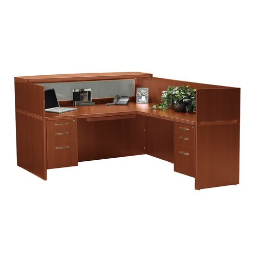 Mayline Group Aberdeen Series L-Shape Desk Reception Office Suite