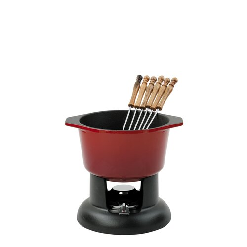 Chasseur Classic Fondue Set with 6 Forks in Chilli Red