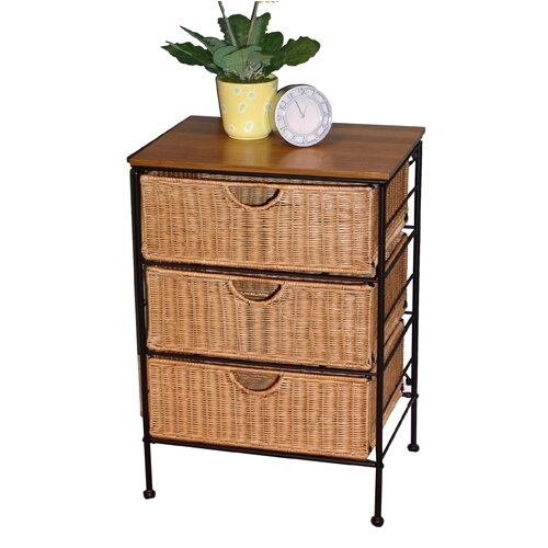3 Drawer Wicker Stand