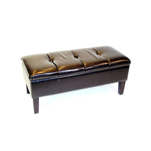 Wood and Fabric Storage Bench