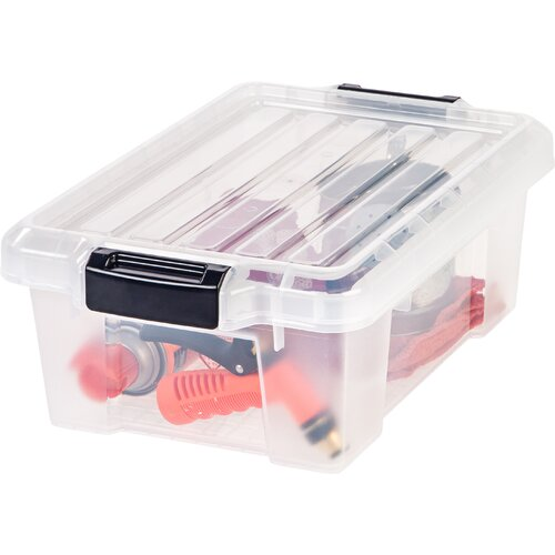 Heavy Duty Plastic Latch Tote with Lid (Set of 6)