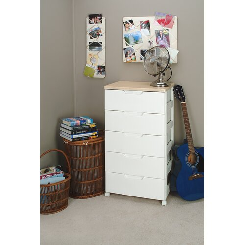 Iris Premium Drawer Storage Series High Grade 5 Drawer Chest in White with Natural Wood Top