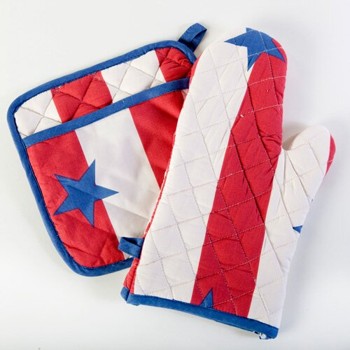 Sin In Linen Stars and Stripes Oven and Mitt Potholder Set