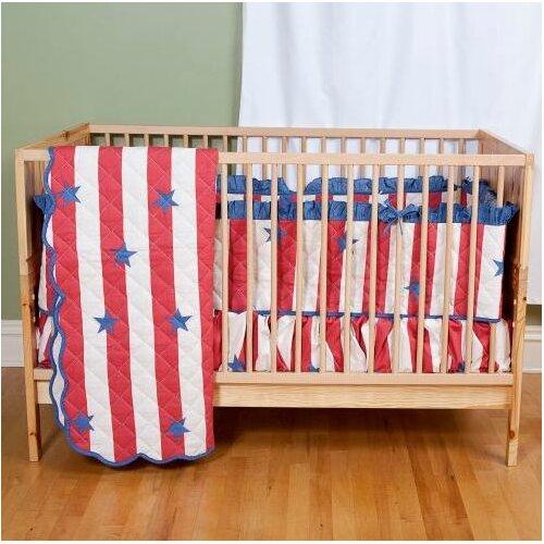 Sin In Linen Stars and Stripes 2 Piece Crib Bedding Set
