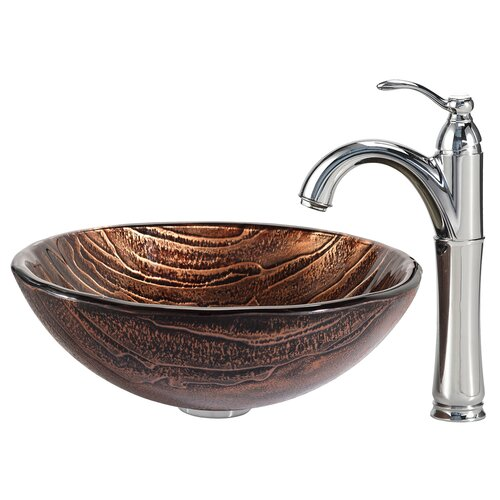 Gaia Glass Vessel Sink with Riviera Faucet