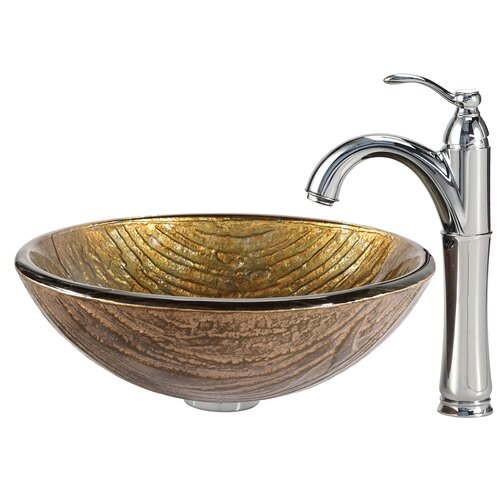 Terra Glass Vessel Sink with Riviera Faucet