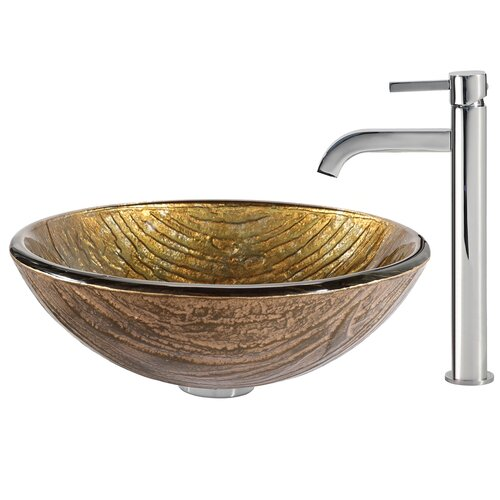Terra Glass Vessel Sink with Ramus Faucet