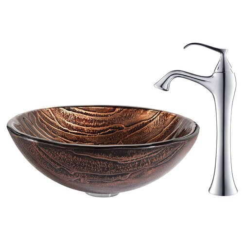 Gaia Glass Vessel Sink with Ventus Faucet