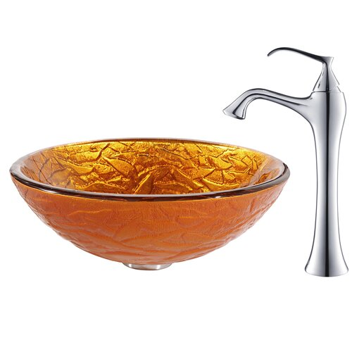 Blaze Glass Vessel Sink with Ventus Faucet