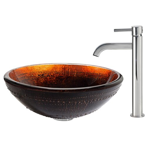 Prometheus Glass Vessel Sink with Ramus Faucet